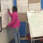 Kid writing HTML code on white board